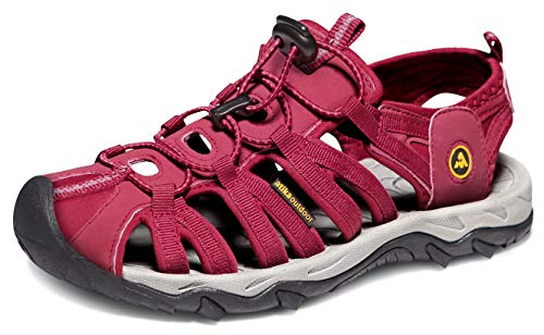 ATIKA Women Athletic Outdoor Sandal, Closed Toe Lightweight Walking Water Shoes, Summer Sport Hiking Sandals, Athena(w109) - Wine, 6