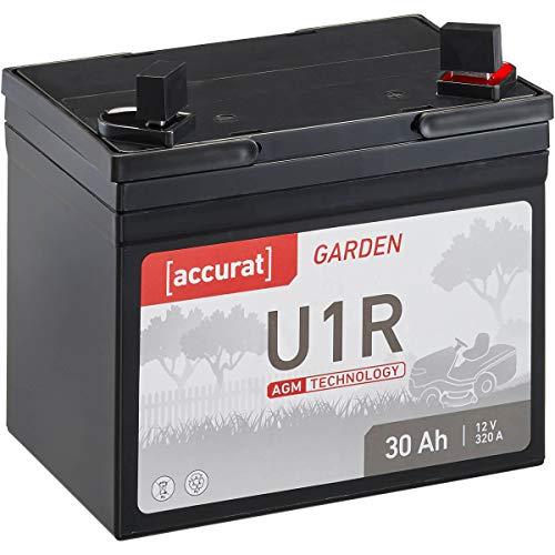 Accurat 30Ah 12V AGM Rasentraktor-Batterie Garden U1R (Pluspol rechts) Starterbatterie für Aufsitzmäher wartungsfrei