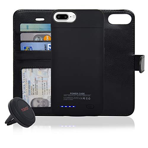 navor RFID Folio Wallet Magnetic Detachable Power Battery Case 4200mAh Compatible for iPhone 7 Plus / 6 Plus / 8 Plus [5.5 Inch] - Rose Gold