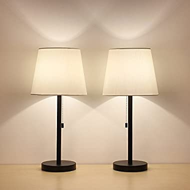HAITRAL Table Lamp Set of 2 Modern Desk Lamps Black Night Lamps for Bedroom, Living room, Office
