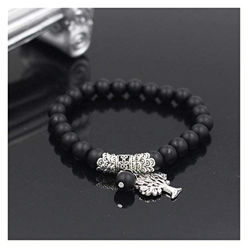 NIANXINN Pulsera de Piedra Mujer, 7 Chakra Natural Black Agate Beads Elástico Brazalete Árbol Oflife Colgante Joyería Ora Pray Yoga Meditación Energía Energía Reiki Encanto Pulsera de Chakra