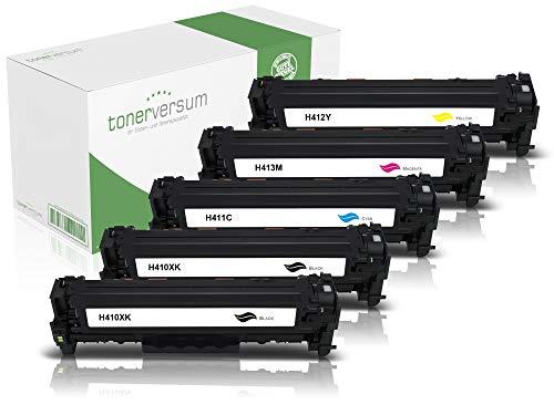 5 Toner kompatibel zu HP CF410X CF411X CF412X CF413X Schwarz Cyan Magenta Gelb für Color Laserjet Pro M452 M452dn M452nw MFP M477fdw M477fnw M377dw Laserdrucker Multipack