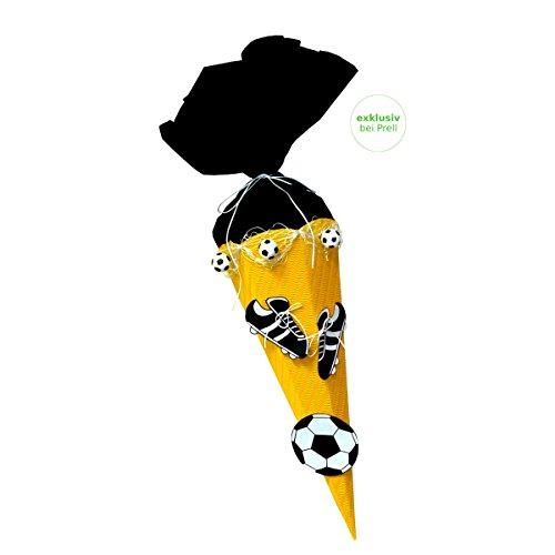 Schultüte Bastelset Fußball gelb-schwarz - Zuckertüte - aus 3D Wellpappe, 68cm hoch, mit vorgedruckten Motiven und Netz