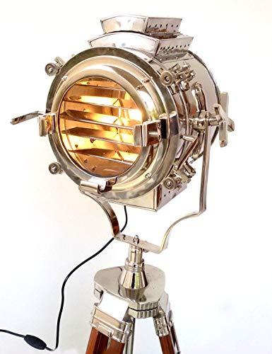 Lampadaire Cinéma Marron nautique Retro Style Trépied Spotlights Searchlights Trépied en Bois Lampe Cinéma Cinéma en Bois Trépied Lampadaire Searchlight Projecteur Décoration Salon