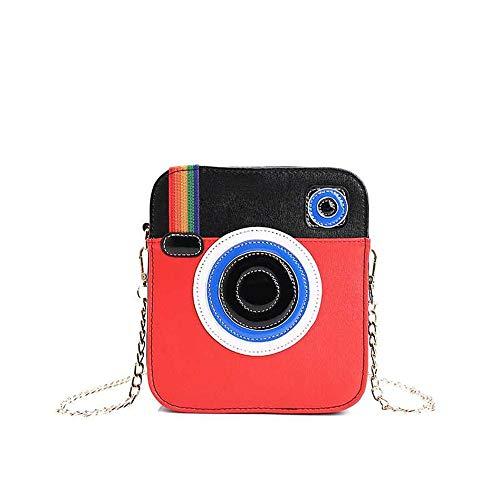 Damen PU-Handtasche / Umhängetasche, mit Funkkamera-Design, Regenbogenfarben, Rot (rot), Large