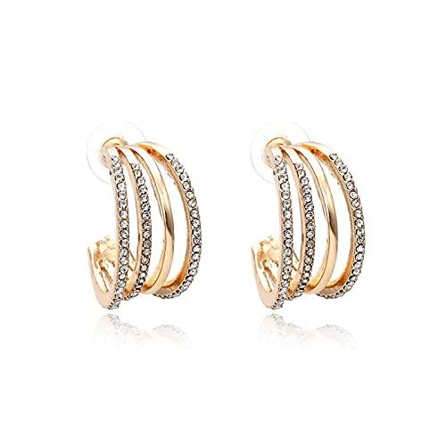Pendientes en forma de C de diamante de oro