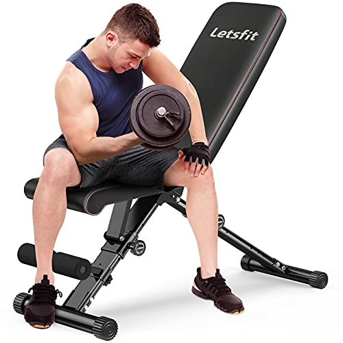 Letsfit Weight Bench, 770lbs Load Capacity Adjustable Workout Bench for Full Body Strength Training, Incline Decline Foldable Bench for Home Gym Fitness Exercise