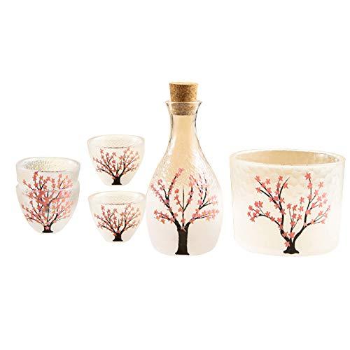 Upgrade Glass Sake Set Japonés, Sake Pot Sake Cup Patrón de flor de cerezo, Utilizado para fiestas en casa y grandes regalos 4 Tazas de sake + 1 Sake Pot + 1 Vaso Vaso para preservación del calor o re