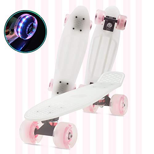 FANGNVREN Skateboard Kinder, Mini Cruiser Kickboard Penny Board 57 cm x 15 cm mit LED-Leuchträdern für Jungendliche Anfänger mädchen Jungs Geburtstagsgeschenk,Weiß
