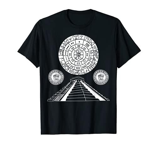 Geometría de la pirámide del calendario azteca antiguo sagrado maya Camiseta