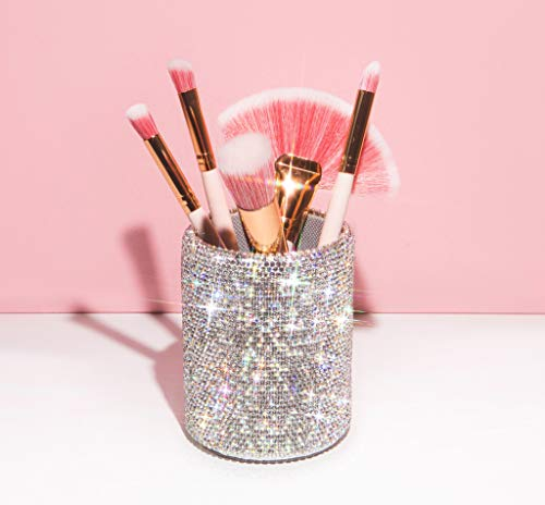 TISHAA Bling Cup Holder Organizer – Pen Pencil Office Desk Table Decorative Supplies Rhinestone Crystal Glitter Home Bedroom Vanity Makeup Brush Storage Tumbler Bins Container Accessories