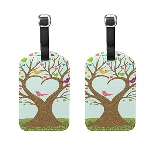 2PCS Travel Luggage Tags Genuine Leather Bag Tags with Full Back Privacy Cover TAG-2137