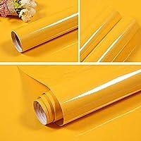 壁紙 40Cm幅の自己粘着性壁紙食器棚家具紙キッチンキャビネットウォールステッカー部屋の装飾フィルム-Yellow_40Cm_X_3M