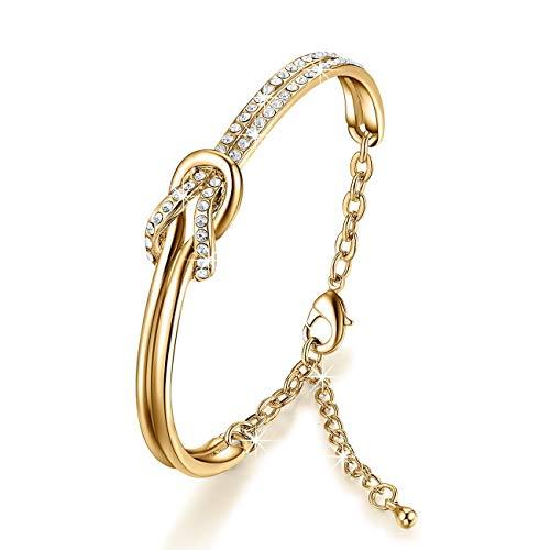NINAMAID Damen-Armband mit Klare Swarovski Kristalle Element Vergoldet Armbander for Damen 7 Inches