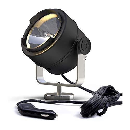 GOODSMANN Spotlight Searchlight 12V 60W 1100 Lumens 210º Halogen Work Light with Magnet Base for Marine Trucks Boat Home Security Farm Field Protection Emergency Lighting 9903-B101-01