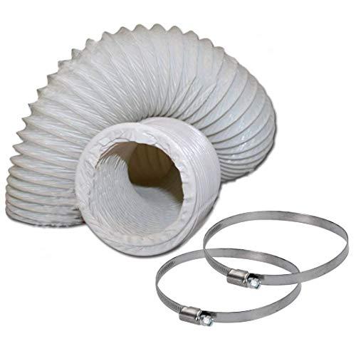 DL-pro Abluftschlauch Ø 100 / 102mm 2,5m flexibel PVC Schlauch für 100er Klimaanlage Wäschetrockner Dunstabzugshaube mit Schellen