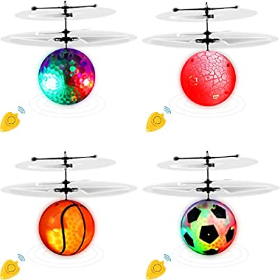 LOCOLO 4 Pack Flying Ball Toys Mini Drone for Kids Adults RC Infrared Induction Flying Helicopter Toys Rechargeable Light Up Drone with Remote Controller for Indoor and Outdoor Games