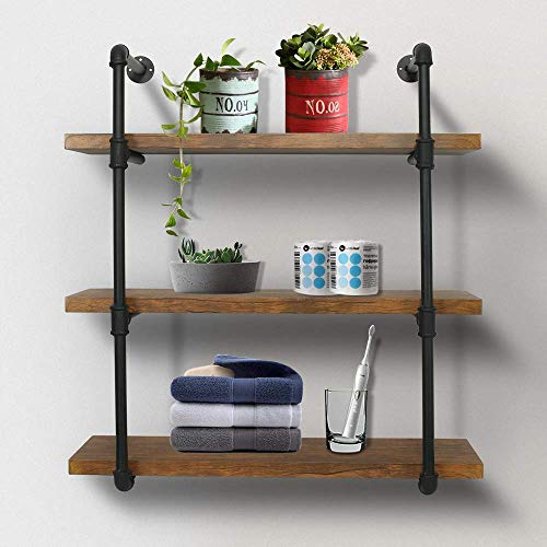 eclife Floating Shelves Bookcases 3 Tier Wall Mounted Rustic Pipe Shelving Unit Vintage Industrial Pipe Wall Shelf Retro Brown 3 Tier HM-PS02