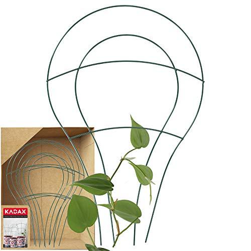 KADAX Blumengitter aus Stahl, 3er Set, Rankgitter, Rankhilfe für Kletterpflanzen, Pflanzenstielstütze, Blumenstütze, Gitterspalier, Pflanzengitter (48,5 x 32 cm)