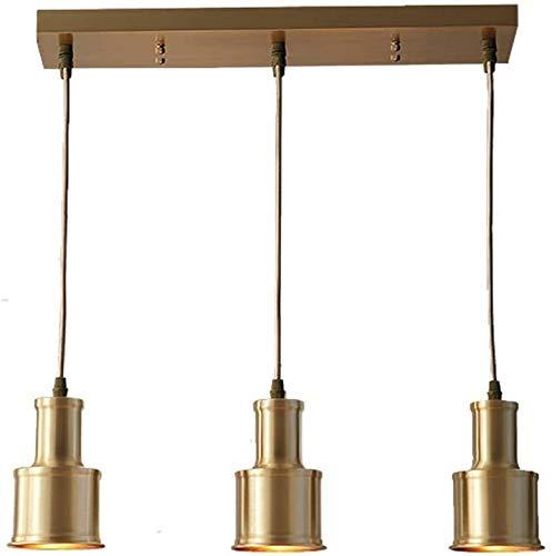 QNDDDD Lámparas Colgantes Candelabros Lámpara de Techo Suspendida Todo Re Restaurante Americano Bar Dormitorio Creativo Europeo Mesilla de Noche Tres Cabezas Norte Personalidad Accesorios para el Hog