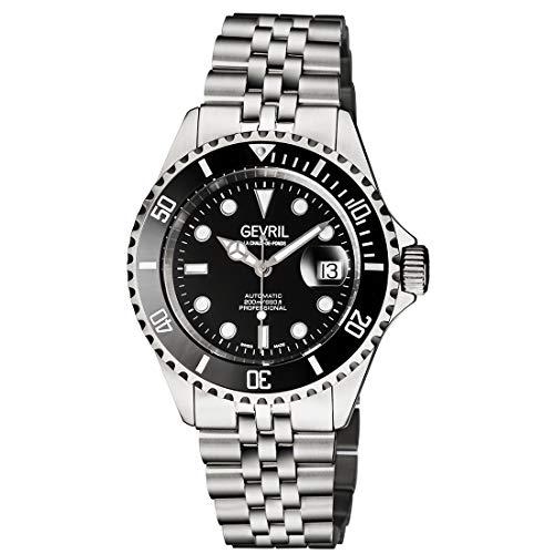 Gevril Relógio masculino automático suíço Wall Street com pulseira de aço inoxidável, prata, 22 (modelo: 4857B)