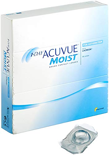 Acuvue 1-Day Moist for Astigmatism, torische Tageslinsen weich, 90 Stück / BC 8.5 mm / DIA 14.50 / CYL -1.25 / ACHSE 20 / +1.5 Dioptrien