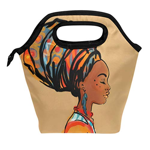 ALAZA Lunch Box Tote Handbag Lunch Bag,Vintage Beautiful African Woman With Earring Insulated Cooler Lunchbox for Men Women Office Picnic