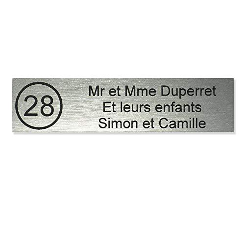 Plaque boite aux lettres NUMERO format Edelen (99x24mm) gris argent lettres noires - 3 lignes