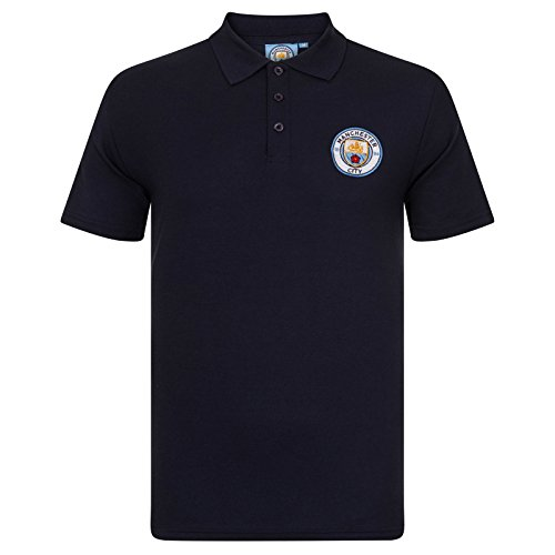 Manchester City FC Football Soccer Official Gift Mens Polo Shirt Navy Blue Large