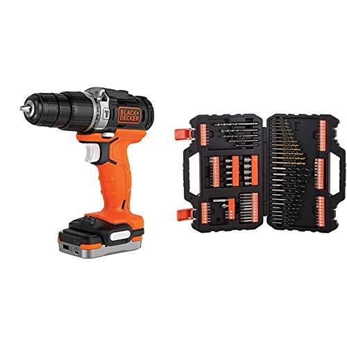 BLACK+DECKER BDCHD12S1-XJ - Taladro Percutor 12V con batería litio 1.5 Ah, incluye cable USB de carga + A7200-XJ - Juego de 109 piezas para atornillar y taladrar con brocas