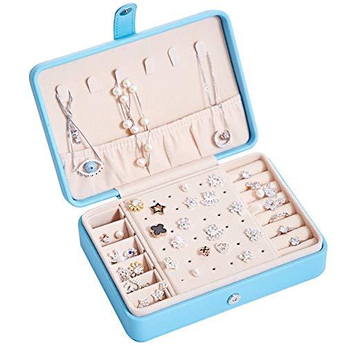 Cofres para Joyas Accesorios de joyería Caja de Pendiente Organizador De Caja de Almacenamiento Portátil Caja de joyería Multifunción Caja de joyería Sky Blue with Hook