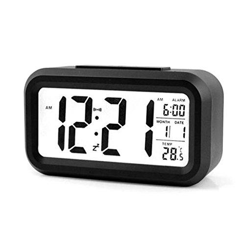 Digitaler Wecker mit Hintergrundbeleuchtung, LED-Display, Tischuhr, Uhrzeit, Temperatur, Kalender