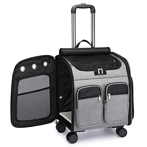 Maleta con carrito para mascotas y bolsa de transporte para perros,mochila portátil plegable para salidas de gatos,mochila grande transpirable de doble hombro,adecuada para perros y gatos pequeños y
