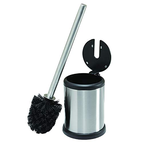 Bath Bliss Toilet Bowl Brush and Holder with Self Closing Lid, Space Saver, Deep Cleaning, Finger Print Proof Finish, 4.5