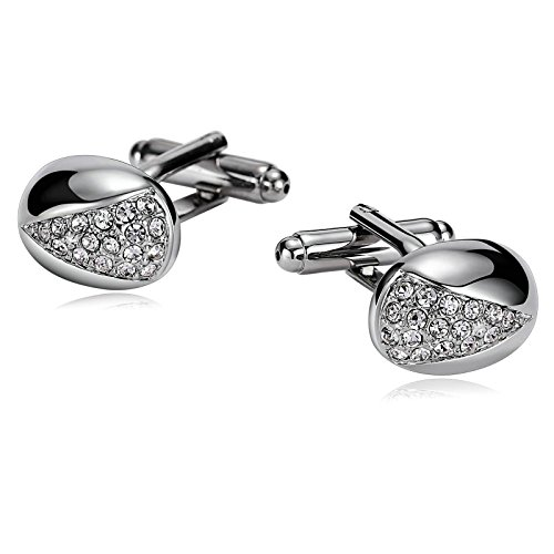 Adokiss Gemelos de acero inoxidable para hombre, diseño ovalado, circonita, plata, 1,7 x 1,2 cm, regalo hermano