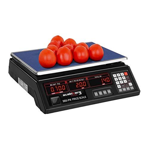 Steinberg Systems Balanza De Control Bascula Digital SBS-PW-302B (30 kg / 2 g, Pantalla LED, Batería integrada 40 h) Negra