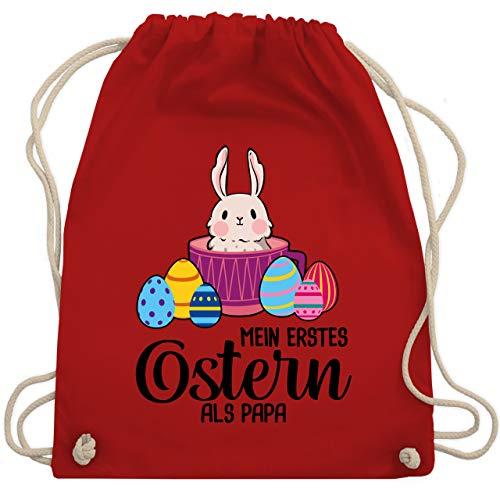Shirtracer Ostern - Mein erstes Ostern als Papa - Hase in Tasse - Unisize - Rot - Hase - WM110 - Turnbeutel und Stoffbeutel aus Baumwolle