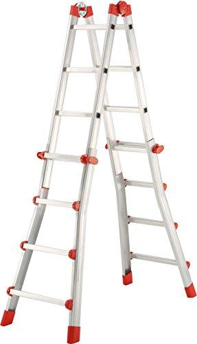 Hailo ProfiStep-Multi Escalera plegable, Aluminio, Rojo