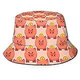 Cerdo Lindo Dinero Gordo Rosa Unisex impresión Sombrero de Cubo patrón Sombreros de Pescador Verano Reversible Tapa Plegable Mujeres Hombres niña niño
