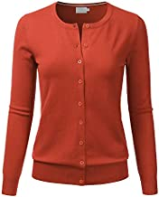LALABEE Women's Crewneck Long Sleeve Button Down Knit Cardigan Sweater Rust S