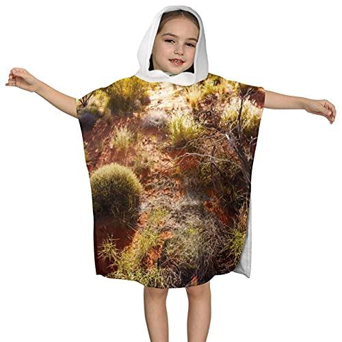 XCNGG Toalla de baño con Capucha para niños, Postre, diseño de Capa Multifuncional marrón Naranja, Que se Puede Doblar como Toalla y Cubierta de natación