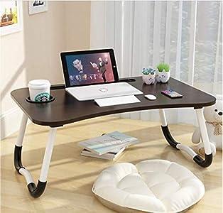 Mesa de cama para ordenador portátil, escritorio portátil, soporte de lectura, con patas plegables y posavasos, para comer, desayunar o leer
