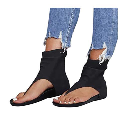 SUNNSEAN Sommersandale Damen Schuhe Slip-On Strandschuhe Böhmen Outdoor Open Toe Atmungsaktive Sandalen Flach Spitzen Sommerschuhe Zehentrenner Flip Flop