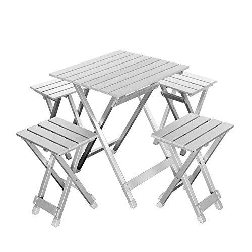 Guoyajf 4-Personen Klapp-Picknicktisch mit 4 Aluminiumstühlen, Höhenverstellbar, tragbar und leicht, für Outdoor, Camping, Picknick, BBQ, Party und Dining