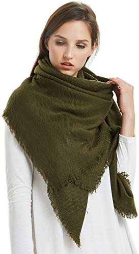 VIVIAN & VINCENT Soft Classic Luxurious Blanket Solid Color Square Scarf Wrap Olive Green