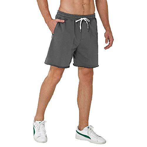 UNIFACO Sweatshorts Herren Kurze Baumwoll Hose Jogginghose mit Kordel Freizeit Trainingshose Sporthose