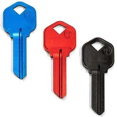 KeySmart AirKey - Ultra Lightweight Aluminum Keys (3 Pack, KW1, Black/Blue/Red)