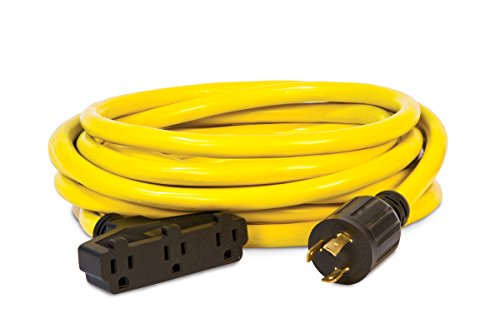Champion Power Equipment 48034 25 ft. 30A 125V Generator Power 3750 Watts (L5-30P to Three 5-15R) Extension Cord, yellow