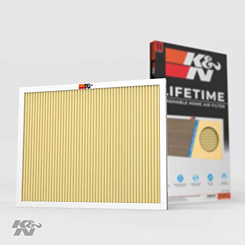 K&N 16x20x1 HVAC Furnace Air Filter Lasts a Lifetime, Washable, Merv 11, Removes Allergies, Pollen, Smoke, Dust, Pet Dander, Mold, Smog, and More, Breathe Cleanly at Home or in the Office, 16x20x1