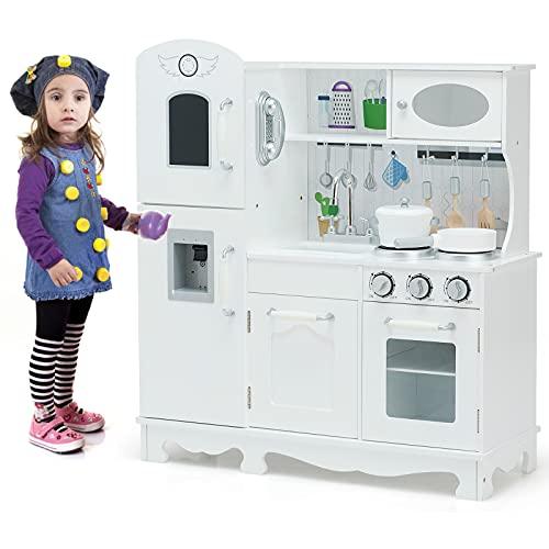HONEY JOY Play Kitchen for Toddlers, Wooden Pretend Kitchen Toy Set, Cookware Utensils, Telephone, Realistic Microwave, Water Dispenser w/Light&Sound, Modern Kids Kitchen Playset for Boys Girls
